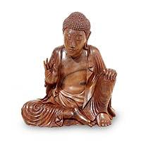 Wood sculpture, 'Buddha's Lesson' - Suar Wood Sculpture