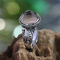 Smoky quartz domed ring, 'Mount Agung Path' - Smoky quartz domed ring