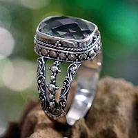 Prasiolite ring, 'Verdant Haven' - Sterling Silver and Prasiolite Ring