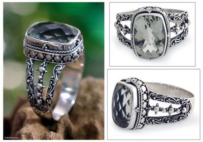 Prasiolite ring, 'Verdant Haven' - Sterling Silver and Prasiolite Ring