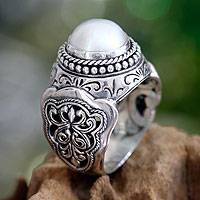 Cultured pearl domed ring, 'Princess Fantasy' - Hand Crafted Pearl and Sterling Silver Dome Ring