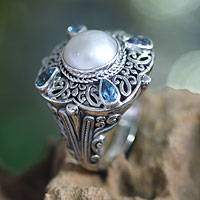 Cultured pearl and blue topaz cocktail ring, 'Water Shrine' - Fair Trade Sterling Silver and Gemstone Ring from Indonesia
