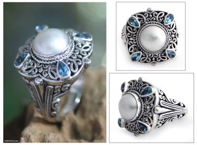 Cultured pearl and blue topaz cocktail ring, 'Water Shrine' - Handmade Sterling Silver and Pearl Cocktail Ring