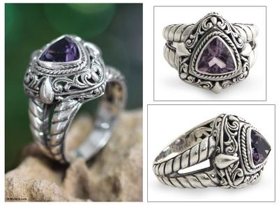 Amethyst cocktail ring, 'Sorceress' - Handmade Sterling Silver and Amethyst Cocktail Ring