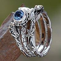 Blue topaz stacking rings, 'Tree Frog' (set of 3) - Unique and Fun Blue Topaz and Silver Stack Frog Ring