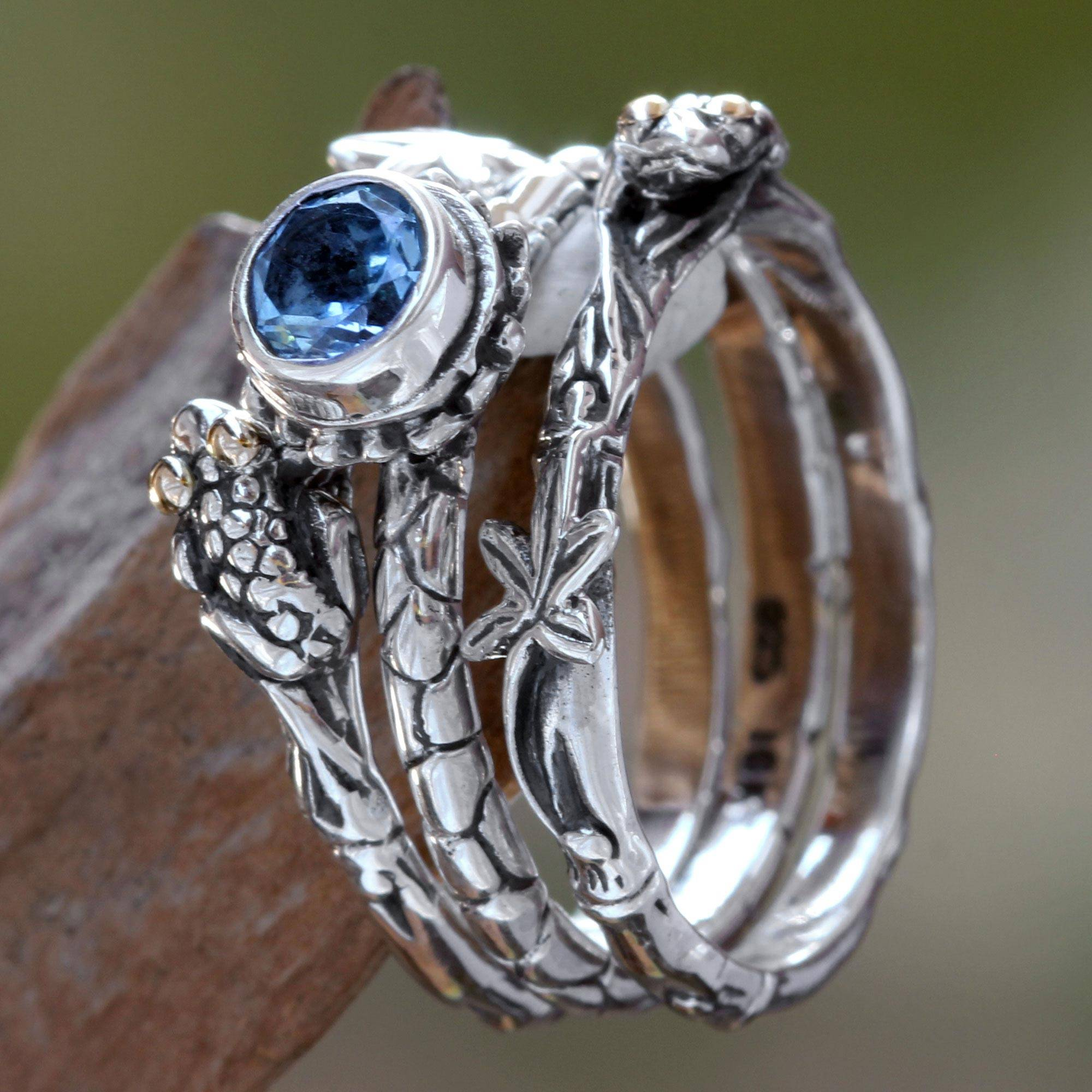 Blue Topaz Stacking Rings, 'tree Frog' (set Of 3)  Blue