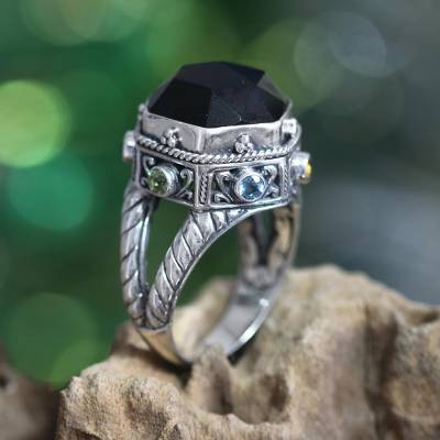 Onyx and peridot domed ring, 'Night Temple' - Handcrafted Sterling Silver and Onyx Cocktail Ring