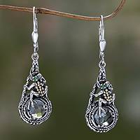 Prasiolite and tsavorite dangle earrings, 'Tropical Frog' - Gold Accented Amethyst and Sterling Silver Frog Earrings