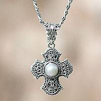 Cultured pearl cross necklace, 'Purity of Spirit' - Hand Crafted Sterling Silver and Pearl Cross Pendant Necklac