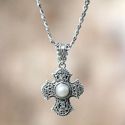 Cultured pearl cross necklace, Purity of Spirit