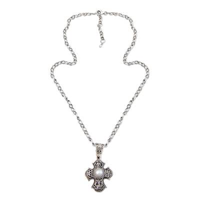 Cultured pearl cross necklace, 'Purity of Spirit' - Sterling Silver and Pearl Cross Necklace