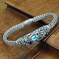 Blue topaz and peridot braided bracelet, 'Bamboo Blossoms' - Multi-Gemstone Sterling Silver Braclet