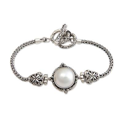 Cultured pearl braided bracelet