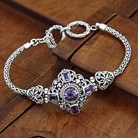 Amethyst braided bracelet, 'Taman Ayun Light' - Hand Crafted Sterling Silver and Amethyst Bracelet