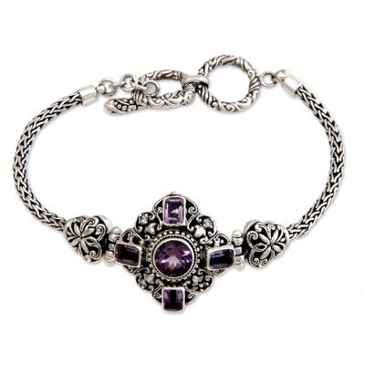 Hand Crafted Sterling Silver and Amethyst Bracelet