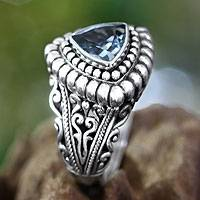 Blue topaz cocktail ring, 'Sea Goddess'