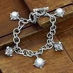 Handcrafted Sterling Silver and Pearl Charm Bracelet, 'Moon Echo'