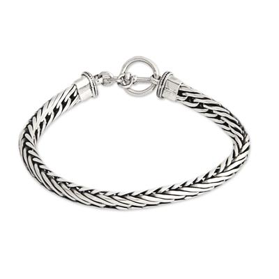 Men's sterling silver bracelet, 'Silver Serpent' - Men's Sterling Silver Chain Bracelet