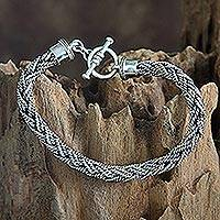 Men's sterling silver bracelet, 'Bali Hero'