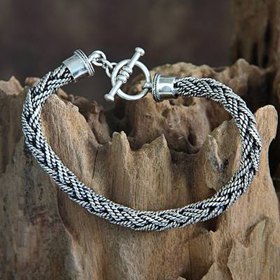 Men's sterling silver bracelet, 'Bali Hero' - Men's Unique Sterling Chain Bracelet