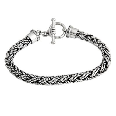 Men's sterling silver bracelet, 'Bali Hero' - Men's Unique Sterling Chain Bracelet