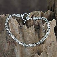 Men's sterling silver bracelet, 'Dragon Tail' - Men's Unique Sterling Silver Chain Bracelet