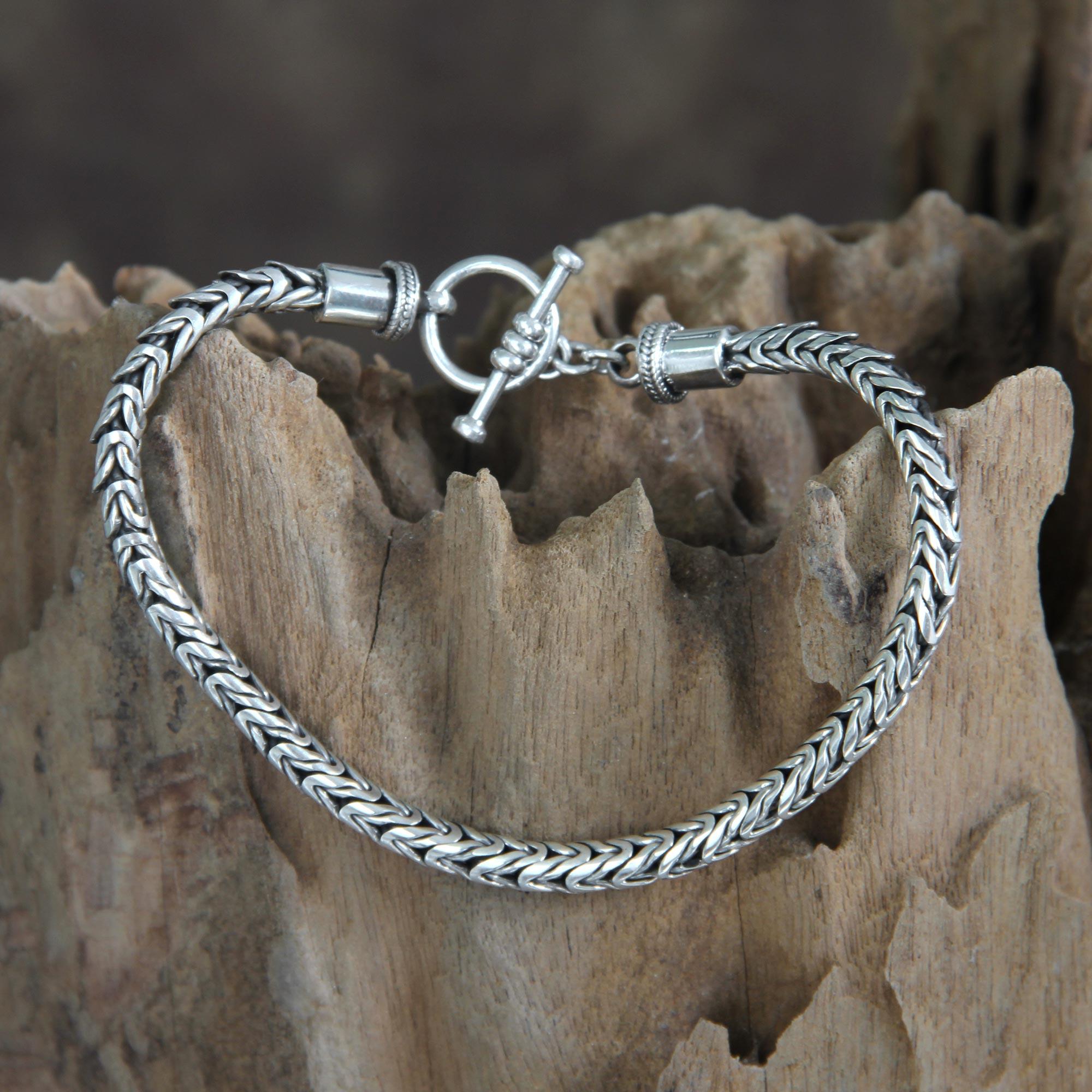 kiva store mens unique sterling silver chain bracelet