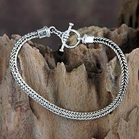 Men's sterling silver bracelet, 'Balinese Braid'