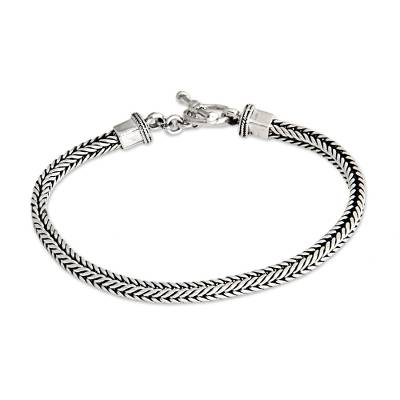 Men's sterling silver bracelet, 'Balinese Braid' - Men's Sterling Silver Chain Bracelet