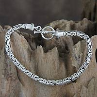 Men's sterling silver bracelet, 'Souls Entwine' - Men's Sterling Silver Chain Bracelet from Indonesia