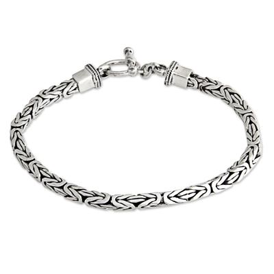 Men's sterling silver bracelet, 'Souls Entwine' - Men's Sterling Silver Chain Bracelet from Indonesia