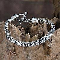 Men's sterling silver bracelet, 'Surf'
