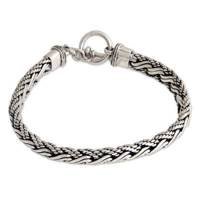 Men's sterling silver bracelet, 'Surf' - Men's Handcrafted Sterling Silver Chain Bracelet