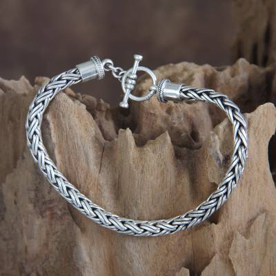 Men's sterling silver bracelet, 'Balinese Python' - Men's Sterling Silver Chain Bracelet from Indonesia