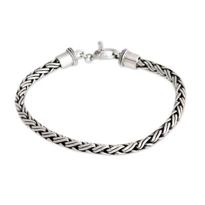 Men's sterling silver bracelet, 'Balinese Python' - Men's Sterling Silver Chain Bracelet from Indonesia