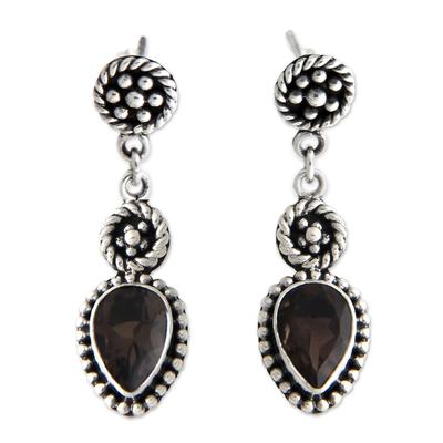 Smoky quartz dangle earrings, 'Balinese Jackfruit' - Unique Sterling Silver and Smoky Quartz Earrings