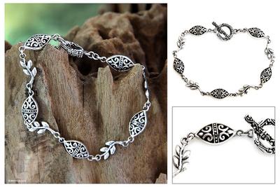 Sterling silver link bracelet, 'Denpasar Paradise' - Sterling Silver Leaf Bracelet