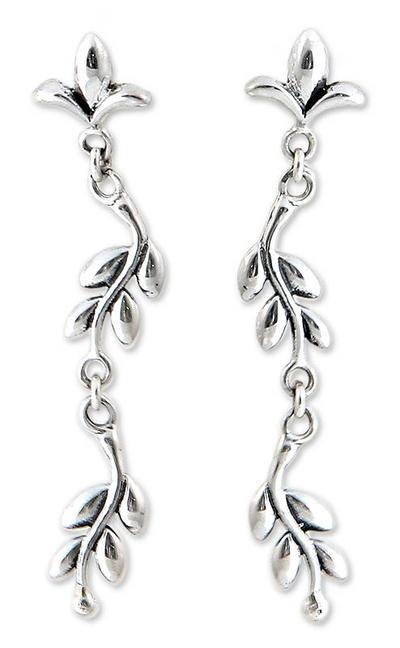 Sterling silver dangle earrings, 'A New Leaf' - Handmade Sterling Silver Dangle Earrings