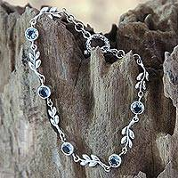 Blue topaz link bracelet, 'A New Leaf' - Handmade Blue Topaz and Sterling Silver Bracelet