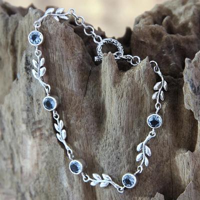 Blue topaz link bracelet, 'A New Leaf' - Handmade Blue Topaz and Sterling Silver Bracelet
