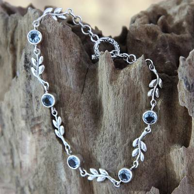 8482bdb80ab Handmade Blue Topaz and Sterling Silver Bracelet - A New Leaf