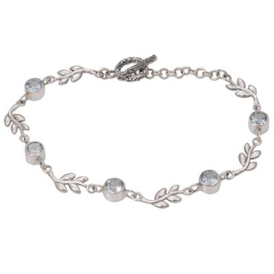 Unique Sterling Silver and Blue Topaz Leaf Link Bracelet