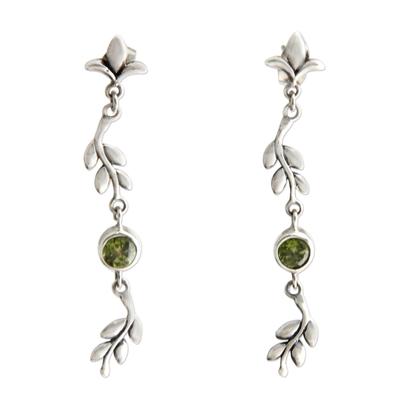 Sterling Silver and Peridot Dangle Earrings