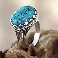 Sterling silver single stone ring, 'Lavish Bali' - Reconstituted Turquoise and Sterling Silver Ring
