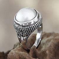 Cultured pearl domed ring, 'Moon Mystique' - Handcrafted Pearl and Sterling Silver Dome Ring