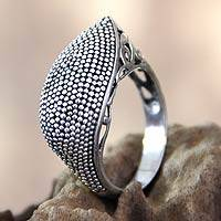 Sterling silver cocktail ring, 'Exotic Denpasar' - Handcrafted Sterling Silver Cocktail RIng
