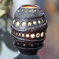 Ceramic candleholder, 'Java Brown Beehive' - Ceramic candleholder
