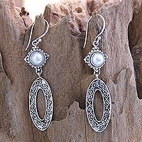 Cultured pearl dangle earrings, 'Moonlight Ferns' - Cultured Pearl Dangle Earrings