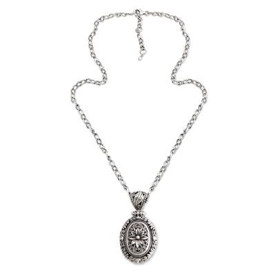 Sterling silver flower necklace, 'Pura Lotus' - Handmade Floral Sterling Silver Pendant Necklace