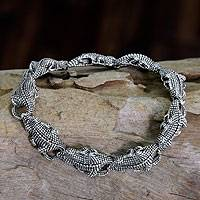 Men's sterling silver link bracelet, 'Tropical Crocodile'